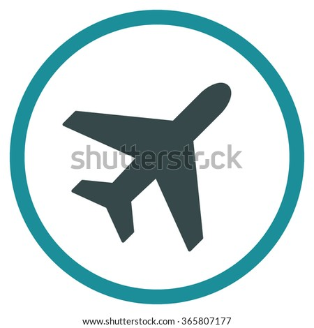 Plane vector icon. Style is bicolor flat circled symbol, soft blue colors, rounded angles, white background.