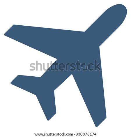 Plane vector icon. Style is flat blue symbol, rounded angles, white background.