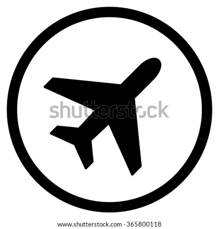Plane vector icon. Style is flat circled symbol, black color, rounded angles, white background.