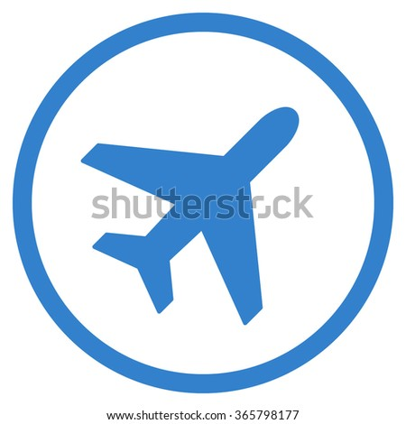 Plane vector icon. Style is flat circled symbol, cobalt color, rounded angles, white background.