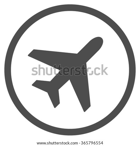Plane vector icon. Style is flat circled symbol, gray color, rounded angles, white background.