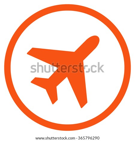 Plane vector icon. Style is flat circled symbol, orange color, rounded angles, white background.