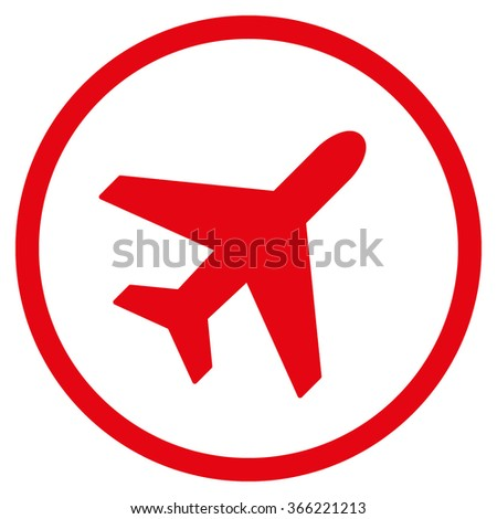 Plane vector icon. Style is flat circled symbol, red color, rounded angles, white background.
