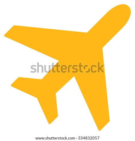 Plane vector icon. Style is flat yellow symbol, rounded angles, white background.
