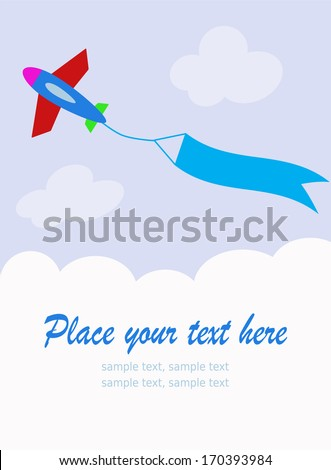 plane with blank sky banner - stock vector