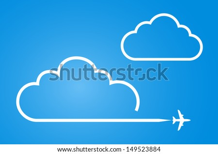 plane with cloud background - stock vector