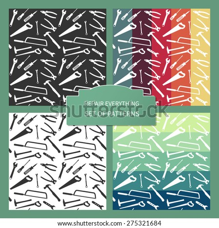 Plane working tools seamless pattern. Vector background for your design. - stock vector