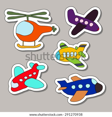 Planes and helicopters - stock vector