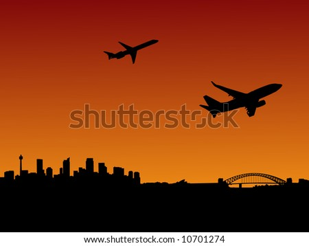 planes departing with Sydney skyline at sunset