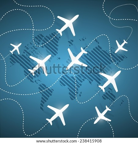 planes flying around the globe. illustration design over a blue background - stock vector