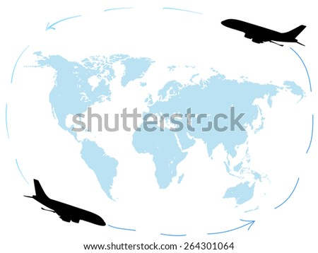 Planes flying around the globe. Round-the-world flights - stock vector