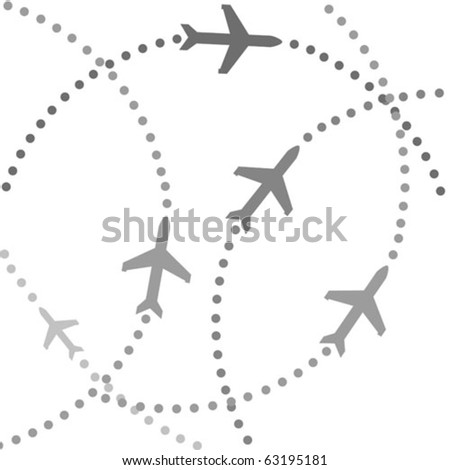 Planes speeding on their flight paths - stock vector