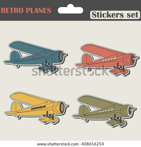 Planes Stickers Set  - stock vector