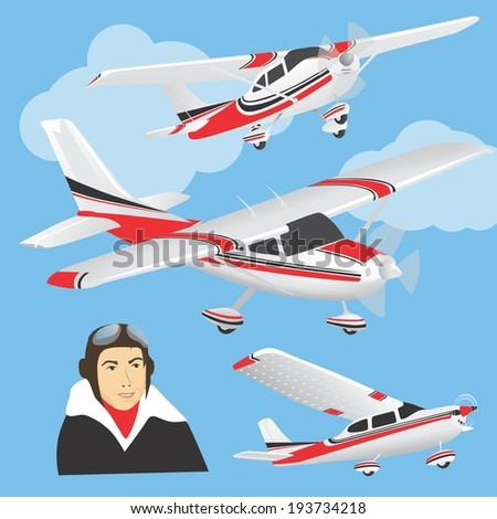 Planes with pilot | Set of planes in different positions and face of a pilot - stock vector