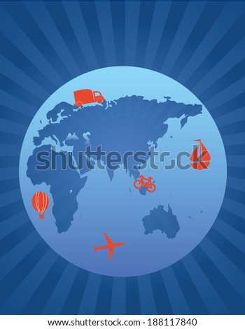 Planet and transportation - stock vector