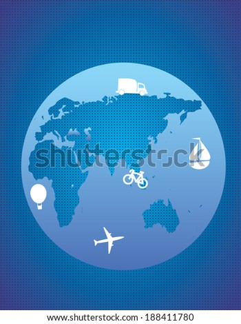 Planet and transportation white - stock vector