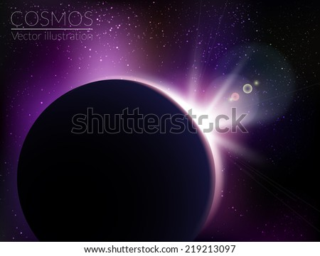 Planet as seen from space with sunrise - vector illustration