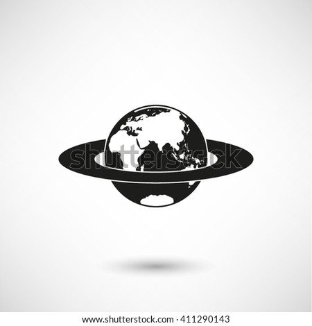 planet - black vector icon  with shadow