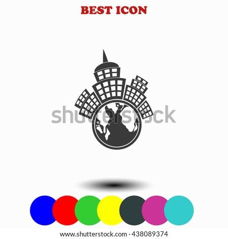 Planet city icon. Planet city illustration. Planet city web. - stock vector