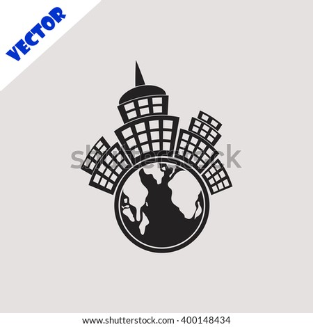 Planet city icon. Planet city vector. Grey icon on grey background. - stock vector