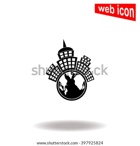 Planet city with globe. City icon. Universal icon to use in web and mobile UI - stock vector