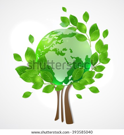 Planet Earth and green tree. Card for Earth Day. - stock vector