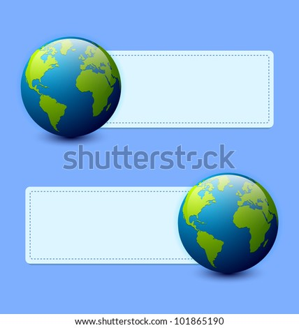 Planet Earth banners isolated on light blue background - stock vector