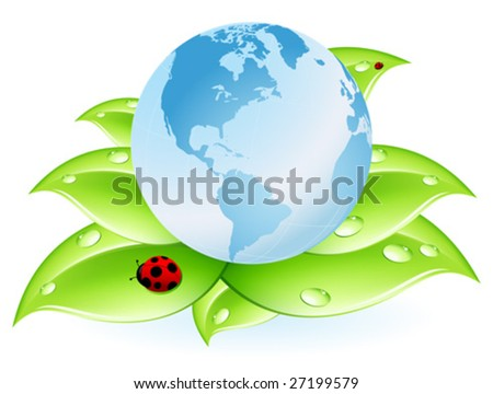 planet Earth blue and leaves isolated on white - stock vector