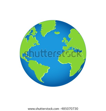 Planet Earth, 3d in blue green color vector design