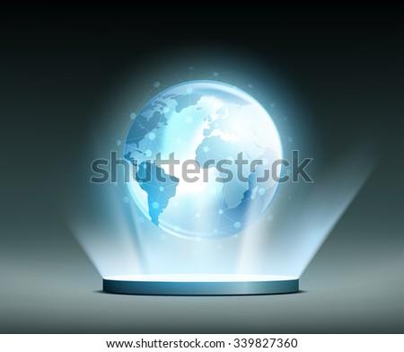Planet Earth. Global network. Hologram. Stock vector illustration. - stock vector