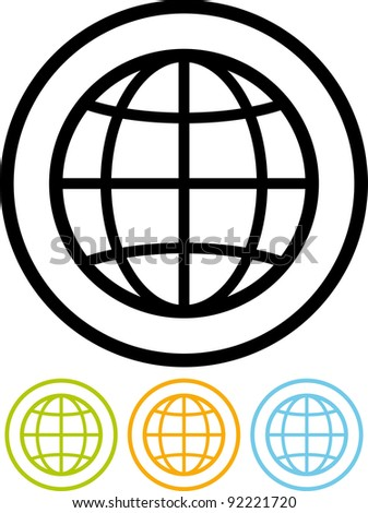 Planet Earth globe - Vector icon isolated on white - stock vector