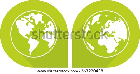Planet Earth green vector sign isolated on white background - stock vector