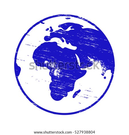 Planet Earth grungy rubber stamp vector illustration