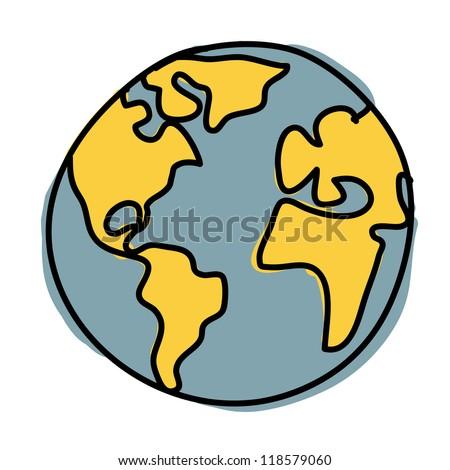 Planet earth hand writing cartoon. ( credit : nasa) - stock vector