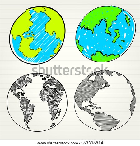 Planet earth hand writing ( credit : nasa) - stock vector