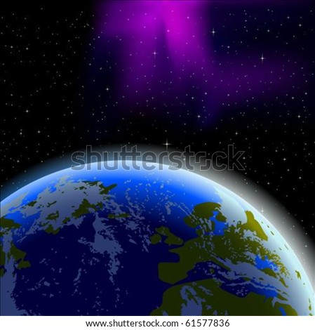 Planet Earth horizon, from space - stock vector