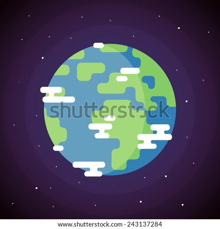 Planet Earth Icon. Vector Flat Illustration - stock vector