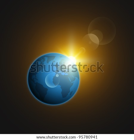 Planet Earth in deep space against the background stars, with sun highlights. Vector set. - stock vector