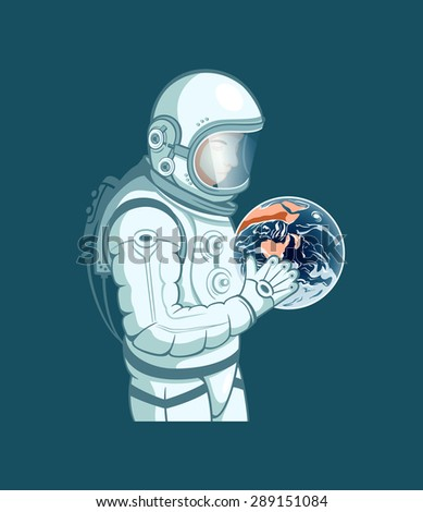 Planet Earth in hands of the space traveler - stock vector