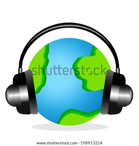 planet earth in headsets on a white background,  vector  illustration