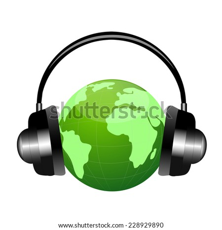 planet earth in headsets,vector illustration