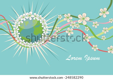Planet earth in orbit wreath of spring flowers.Composition of cherry flowers ,curly ribbons Vector Illustration,banner,template for wedding,mother day,easter.Cute card,invitation.Modern flat style - stock vector