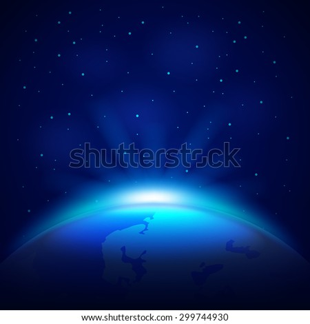 Planet Earth in space photo realistic vector background - stock vector