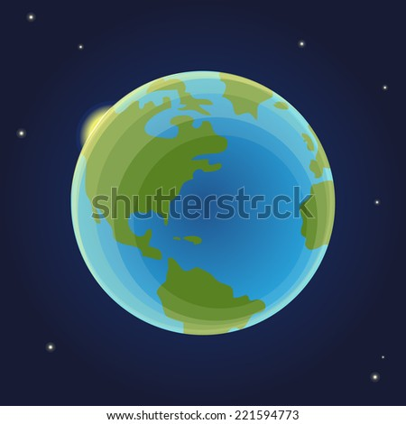 Planet Earth in space with sun behind it