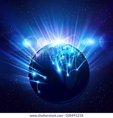 Planet earth in the bright rays of light. Vector - stock vector