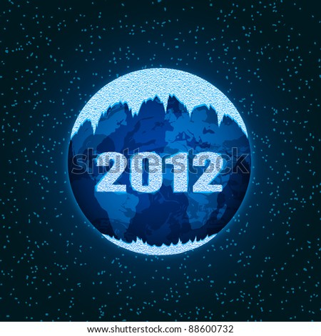 Planet Earth is covered with ice from the ice with the inscription of numbers in 2012 - stock vector