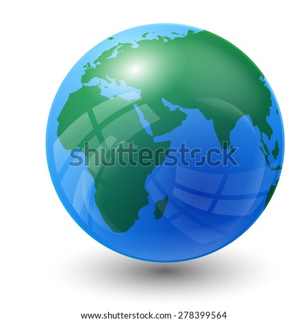 planet earth map - Europe, Asia and Africa view