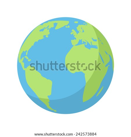 Planet Earth, modern flat icon - stock vector
