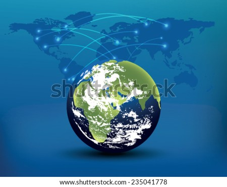 Planet Earth on a blue background - stock vector