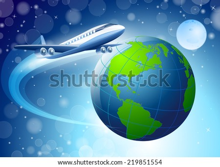 planet earth on a blue background around the earth planes fly - stock vector